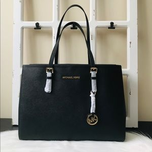 MK Jet Set Travel Large Tote Black Leather